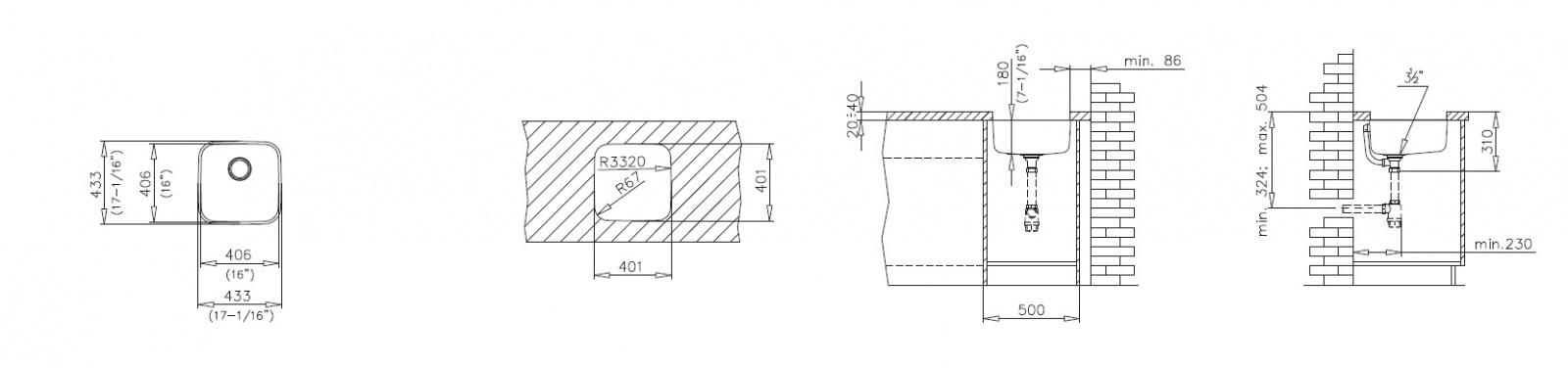 Teka Keittiöallas BE 40 40, altapäin kiinnitettävä, 1 altainen, 433x433mm, rs