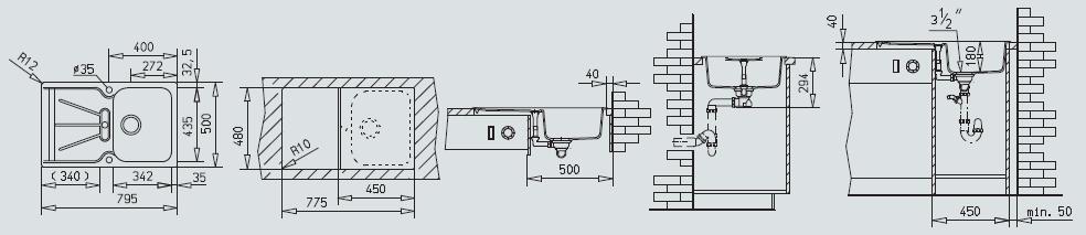 Teka Keittiöallas Cara 45 B TG, 1 altainen, valutustasolla, 795x500mm, tegran