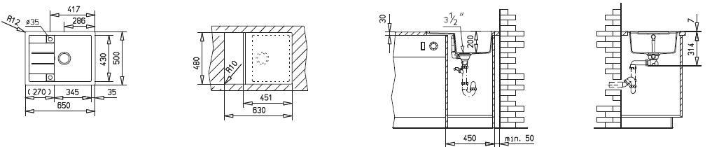 Teka Keittiöallas Astral 45 B TG, 1 altainen, valutustasolla, 650x500mm, tegr