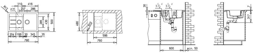 Teka Keittiöallas Astral 60 B TG, 1½ altainen, valutustasolla, 780x500mm, teg