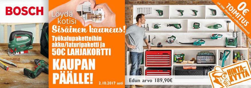 Bosch-työkalupaketteihin laturipaketti ja 50€ lahjakortti kaupan päälle!