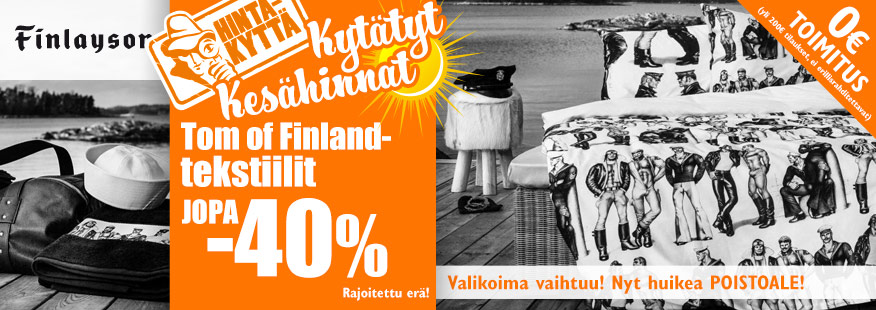 Finlaysonin Tom of Finland -tekstiilit jopa -40%
