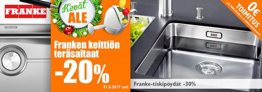 Franke-teräsaltaat ja tiskipöydät -20-30%