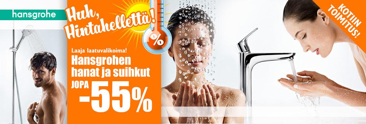 Hansgrohen hanat ja suihkut jopa -55%