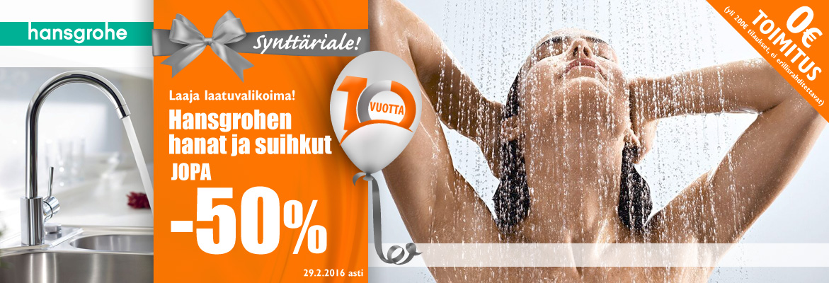 Hansgrohen hanat ja suihkut jopa -50%