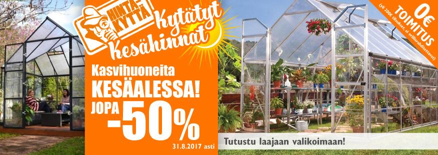 Kasvihuoneita kesäalessa jopa -50%