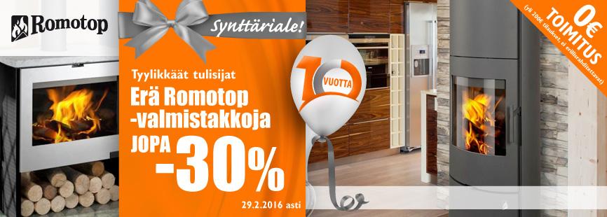 Erä Romotop-takkoja jopa -30%