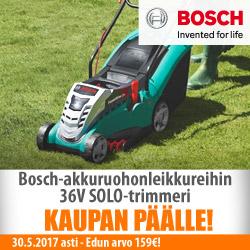 Bosch-akkuruohonleikkureihin trimmeri kaupan päälle!