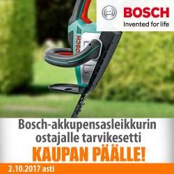 Bosch-akkupensasleikkuriin tarvikesetti kaupan päälle!