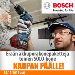 Erään Bosch-akkukonepaketteja toinen Solo-kone kaupan päälle!