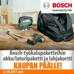 Bosch-työkalupaketteihin akku/laturipaketti ja lahjakortti kaupan päälle!