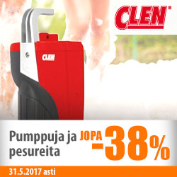 Clenin pumppuja ja pesureita jopa -38%