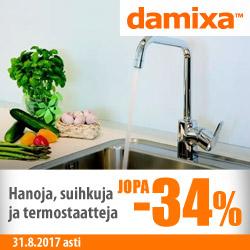 Damixa Pine -hanoja, -suihkuja ja -termostaatteja jopa -34%