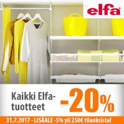 Elfa-säilytysjärjestelmät -20% + LisäALE yli 250€ ostoksista!
