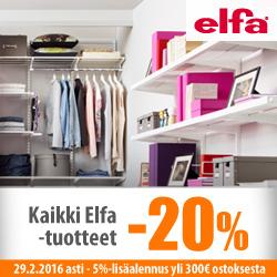 Kaikki Elfa-tuotteet -20% + 5% lisäalennus yli 300€ ostoksesta