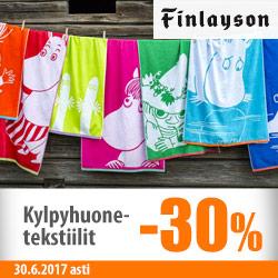 Finlaysonin kylpyhuonetekstiilit -30%