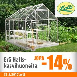 Erä Halls-kasvihuoneita jopa -14%