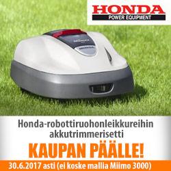 Honda-robottiruohonleikkureihin trimmeri kaupan päälle!