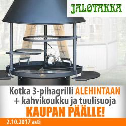 Jalotakka Kotka-pihagrilli -11% + kahvikoullu ja tuulisuoja kaupan päälle!