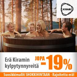 Erä Kiramin kylpytynnyreitä jopa -19%