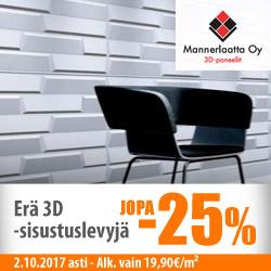 Erä Mannerlaatan 3D-sisustuslevyjä jopa -25%
