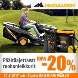 McCulloch päältäajettavat ruohonleikkurit -20% + Starter Kit kaupan päälle!