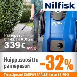 Huippusuosittu Nilfisk-painepesuri -32% + terassipesuri kaupan päälle!
