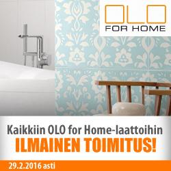 Kaikkiin OLO for Home-laattoihin ilmainen toimitus