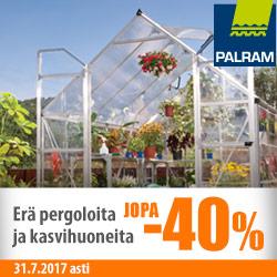 Erä Palram-pergoloita ja -kasvihuoneita jopa -40%