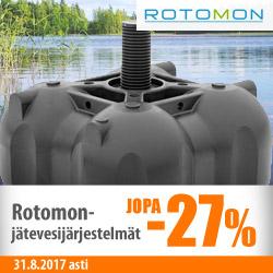 Rotomon-jätevesijärjestelmät jopa -27%