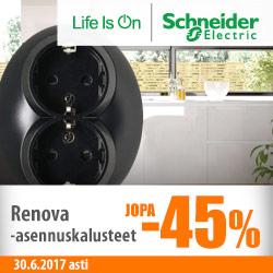 Schneider Electric Renova-asennuskalusteet jopa -45%