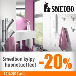 Smedbon kylpyhuonetuotteet -20%