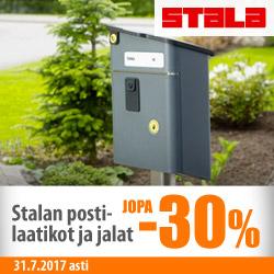 Stalan postilaatikot ja jalat jopa -30%