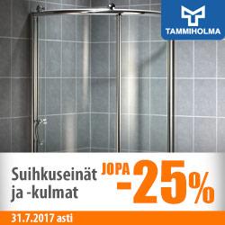 Tammiholman suihkuseinät ja -kulmat jopa -25%