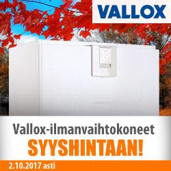 Vallox-ilmanvaihtokoneet syyshintaan!