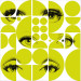 Paneelitapetti Mindthegap Eyes and circles lime, 1.56x3m