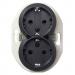 Schneider Electric-Renova 2-pistorasia, maadoitettu, musta