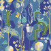 Tapetti Sandberg Tistlar sininen 0,53x10,05 m, non-woven kuva0