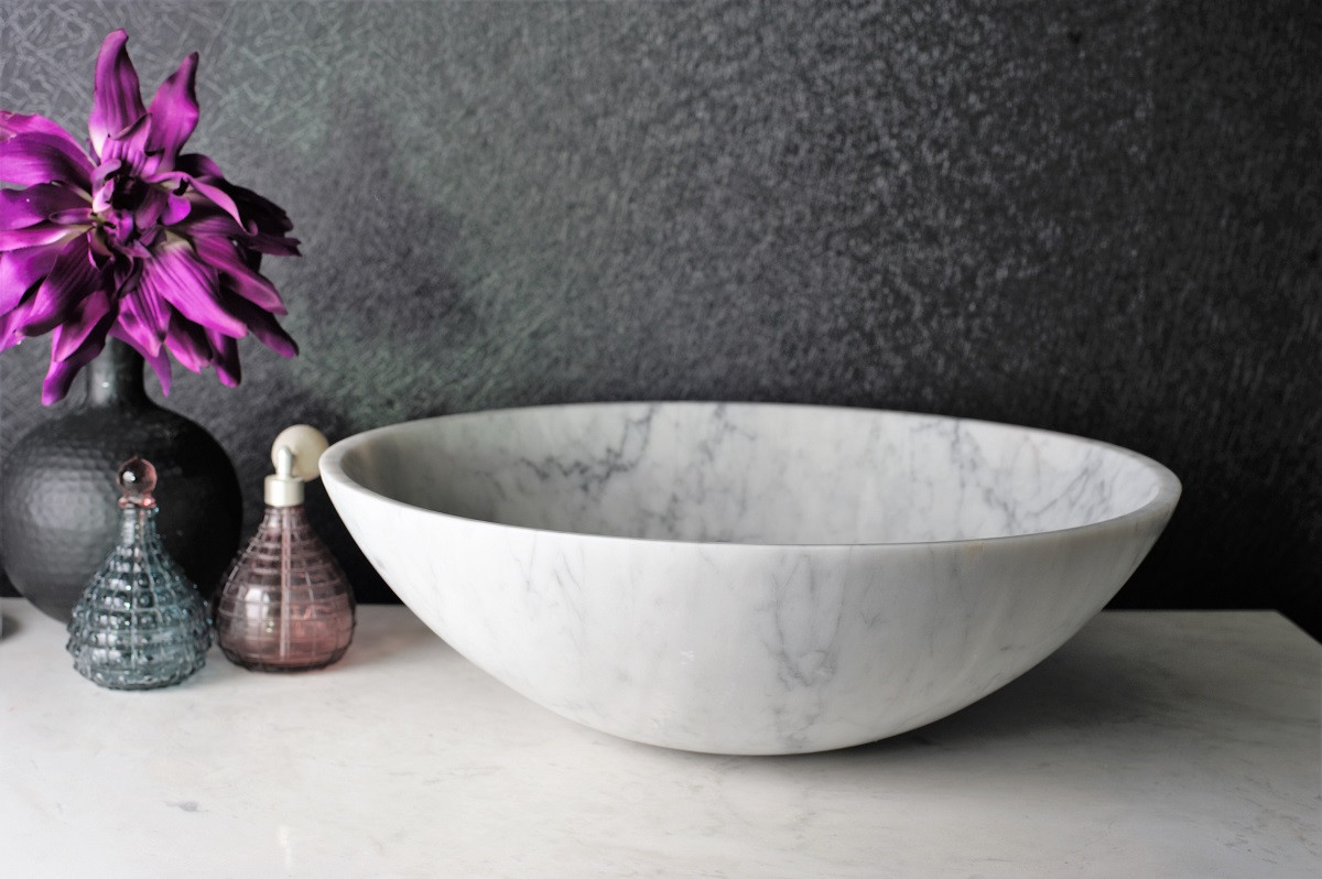 Malja-allas Bathlife Solid Carrara, Ø 430mm, marmori