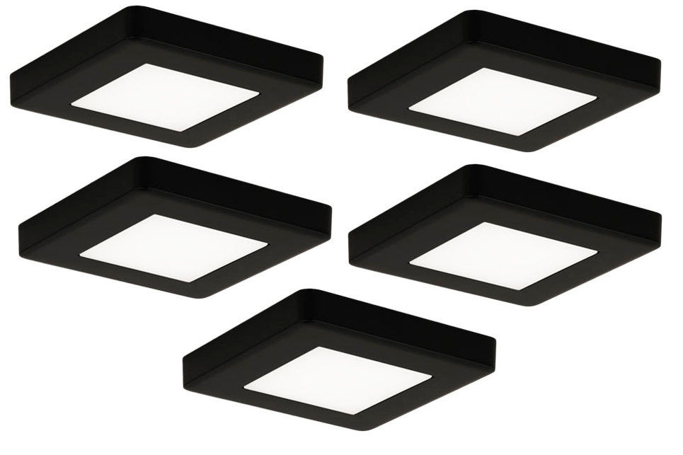LED-kalustevalaisinsetti Limente LED-Leno 19, 80x80x12mm, 5x4.2W musta
