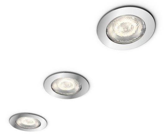 LED-alasvalosarja Philips myBathroom, Dreaminess, Ø 75x50mm, IP65, 3kpl, kromi
