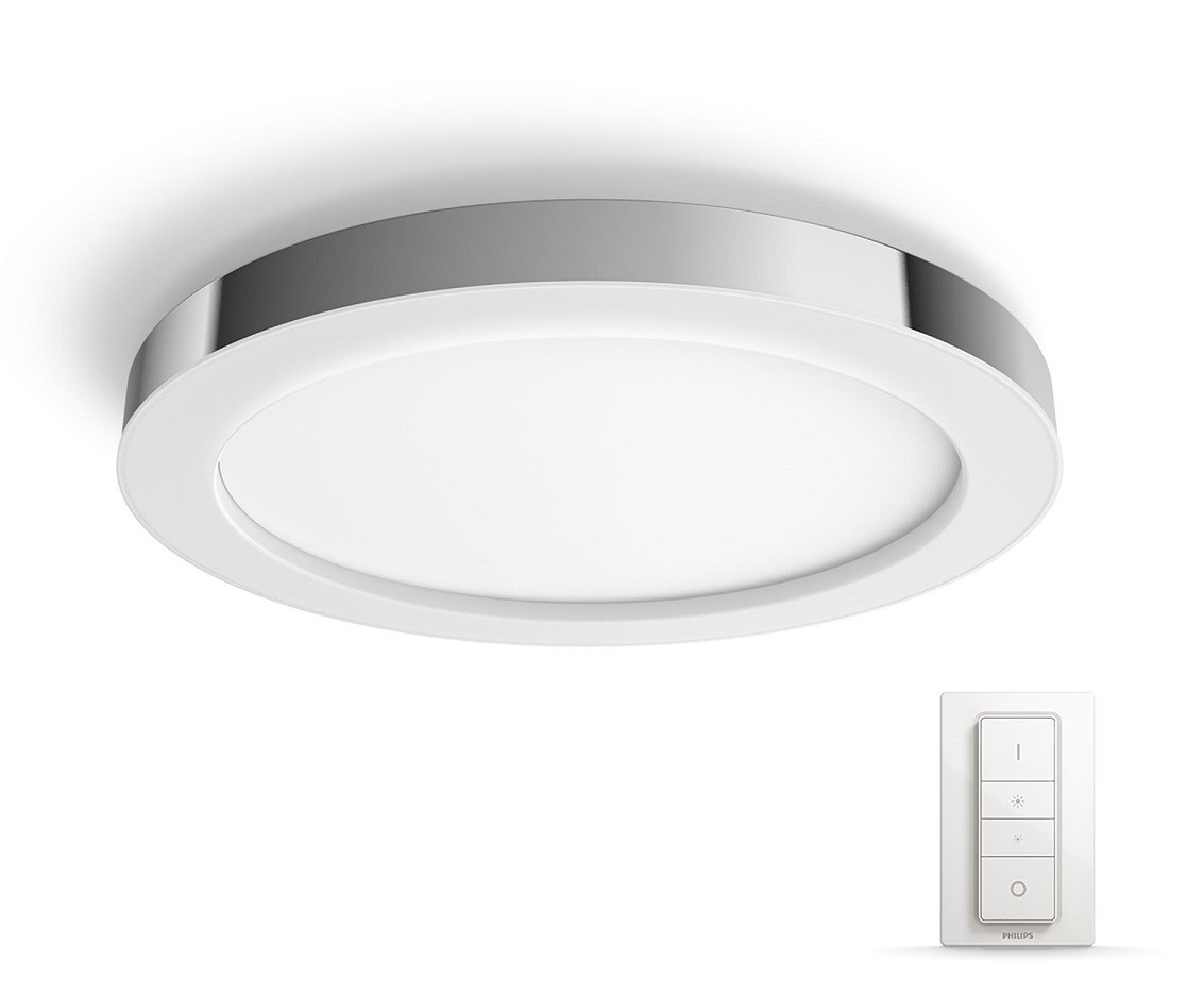 LED-kattovalaisin Philips Hue Adore, himmentimellä, 40W, IP44, Ø405x52mm, metalli/synteettinen, kromi