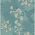 Tapetti 1838 Wallcoverings Hummingbird, turkoosi, 0,52x10,05m