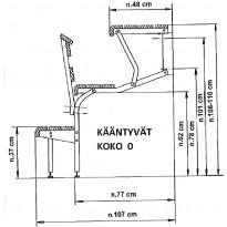 KIKKA X-lauderunkosarja, seinälle käännettävä, alumiininen, koko (0X) + ruuvipaketti