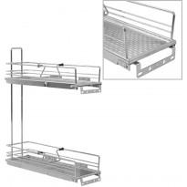 2-kerroksinen ulosvedettävä keittiön hylly 47x15x54,5 cm