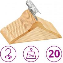 20 kpl vaateripustinsarja liukumaton kovapuu