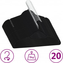 20 kpl vaateripustinsarja liukumaton musta sametti