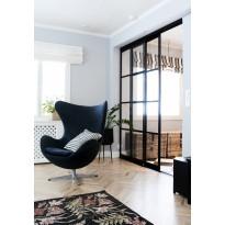 Tilanjakaja/liukuovi Mirror Line Ruudukko musta kahdella ovella, matala malli, mittatilaus