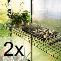 2 kpl Taittuva teräslankahylly vihreä 40x120 cm 5452