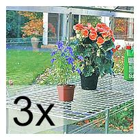 3 kpl Teräslankahylly alumiinikannattimilla 150x50 cm 4507